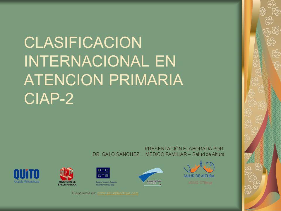INTRODUCCIÓN Desarrollada por el Grupo de Trabajo de ICPC (International Classification of Primary Care) Publicada en 1987 por WONCA (organización mundial de médicos de familia)