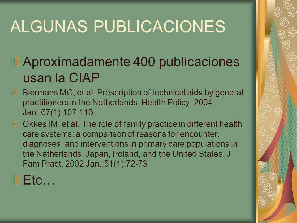 ALGUNAS PUBLICACIONES Aproximadamente 400 publicaciones usan la CIAP Biermans MC, et al. Prescription of technical aids by general practitioners in th