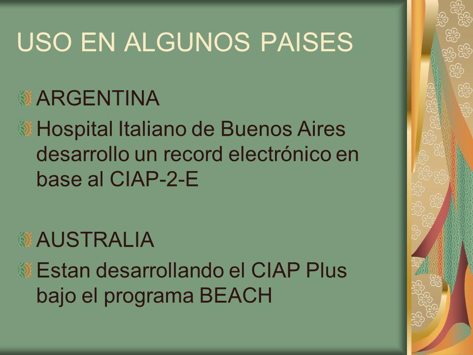USO EN ALGUNOS PAISES ARGENTINA Hospital Italiano de Buenos Aires desarrollo un record electrónico en base al CIAP-2-E AUSTRALIA Estan desarrollando e