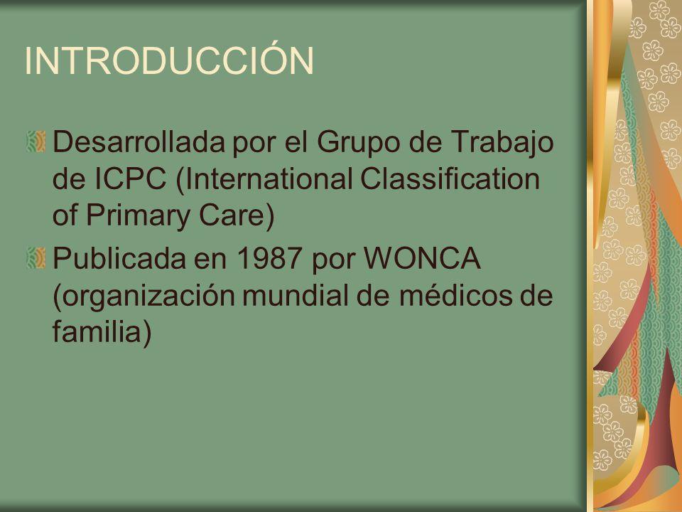 INTRODUCCIÓN Desarrollada por el Grupo de Trabajo de ICPC (International Classification of Primary Care) Publicada en 1987 por WONCA (organización mun