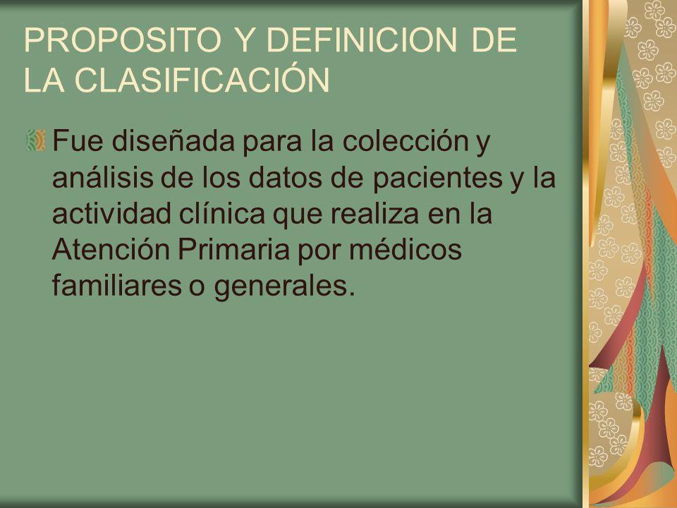 PROPOSITO Y DEFINICION DE LA CLASIFICACIÓN Fue diseñada para la colección y análisis de los datos de pacientes y la actividad clínica que realiza en l