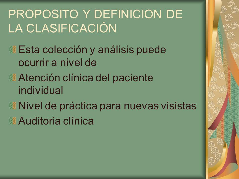 PROPOSITO Y DEFINICION DE LA CLASIFICACIÓN Esta colección y análisis puede ocurrir a nivel de Atención clínica del paciente individual Nivel de prácti