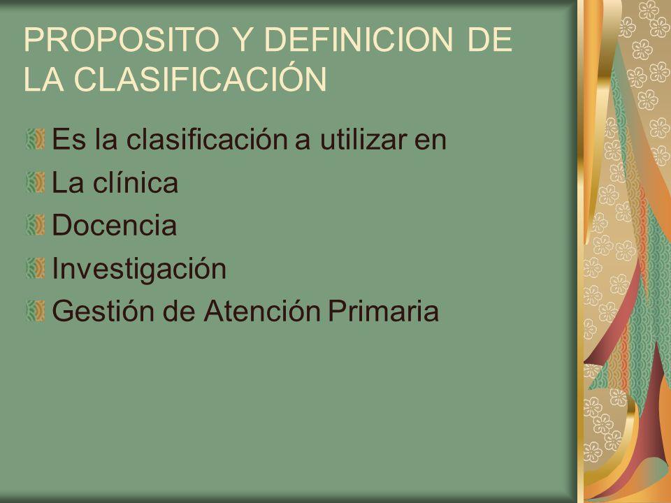 PROPOSITO Y DEFINICION DE LA CLASIFICACIÓN Es la clasificación a utilizar en La clínica Docencia Investigación Gestión de Atención Primaria