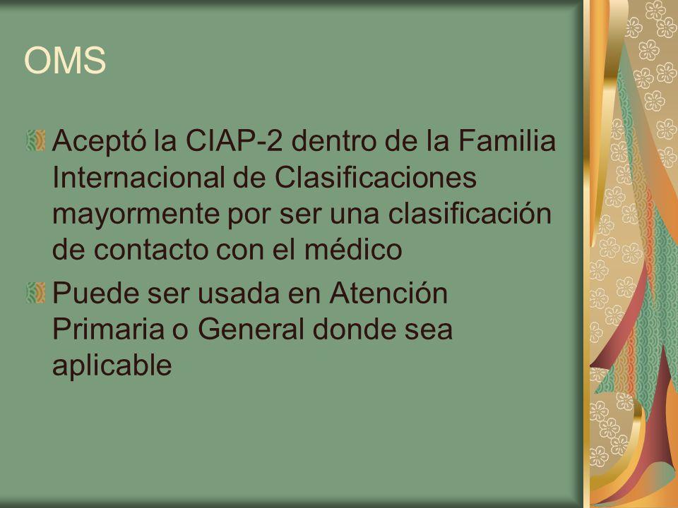 OMS Aceptó la CIAP-2 dentro de la Familia Internacional de Clasificaciones mayormente por ser una clasificación de contacto con el médico Puede ser us