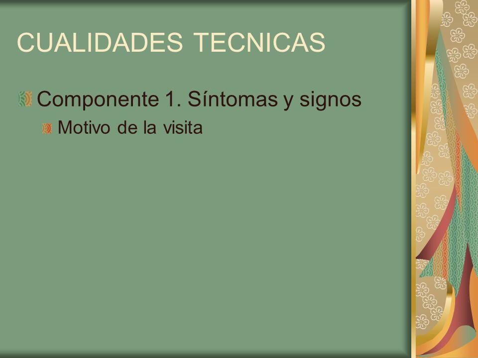 CUALIDADES TECNICAS Componente 1. Síntomas y signos Motivo de la visita