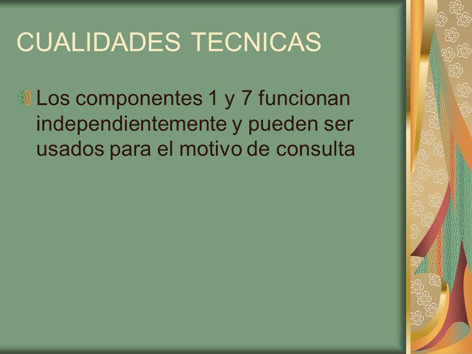 CUALIDADES TECNICAS Los componentes 1 y 7 funcionan independientemente y pueden ser usados para el motivo de consulta