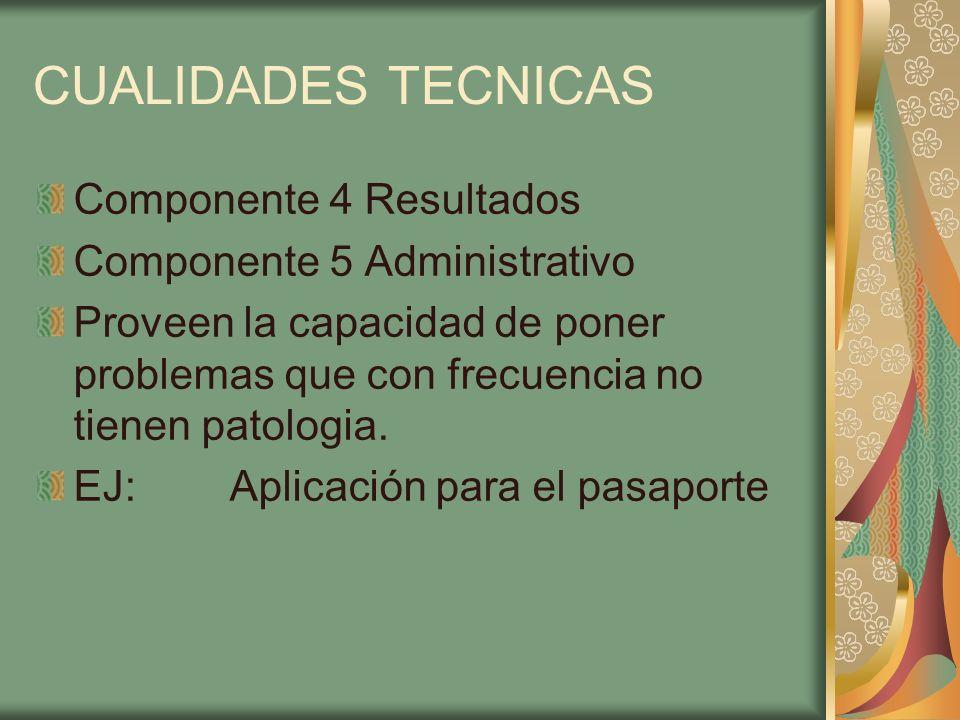 CUALIDADES TECNICAS Componente 4 Resultados Componente 5 Administrativo Proveen la capacidad de poner problemas que con frecuencia no tienen patologia
