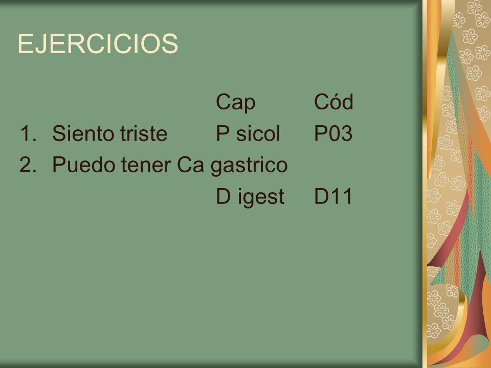 EJERCICIOS CapCód 1.Siento tristeP sicolP03 2.Puedo tener Ca gastrico D igestD11