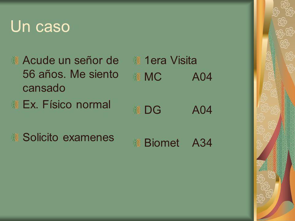 Un caso Acude un señor de 56 años. Me siento cansado Ex. Físico normal Solicito examenes 1era Visita MCA04 DGA04 BiometA34