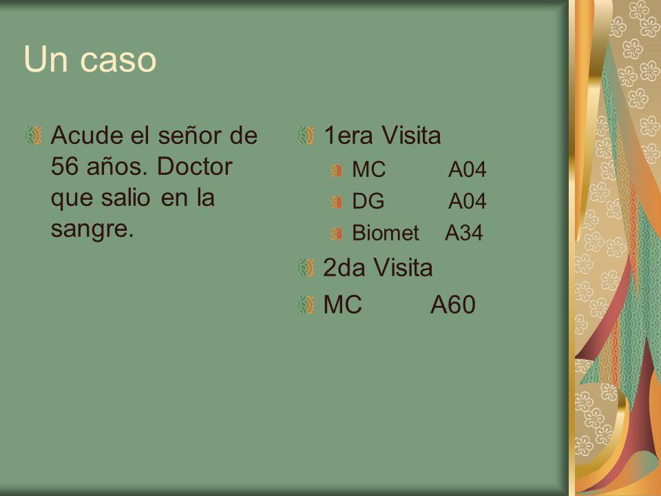 Un caso Acude el señor de 56 años. Doctor que salio en la sangre. 1era Visita MC A04 DG A04 Biomet A34 2da Visita MC A60
