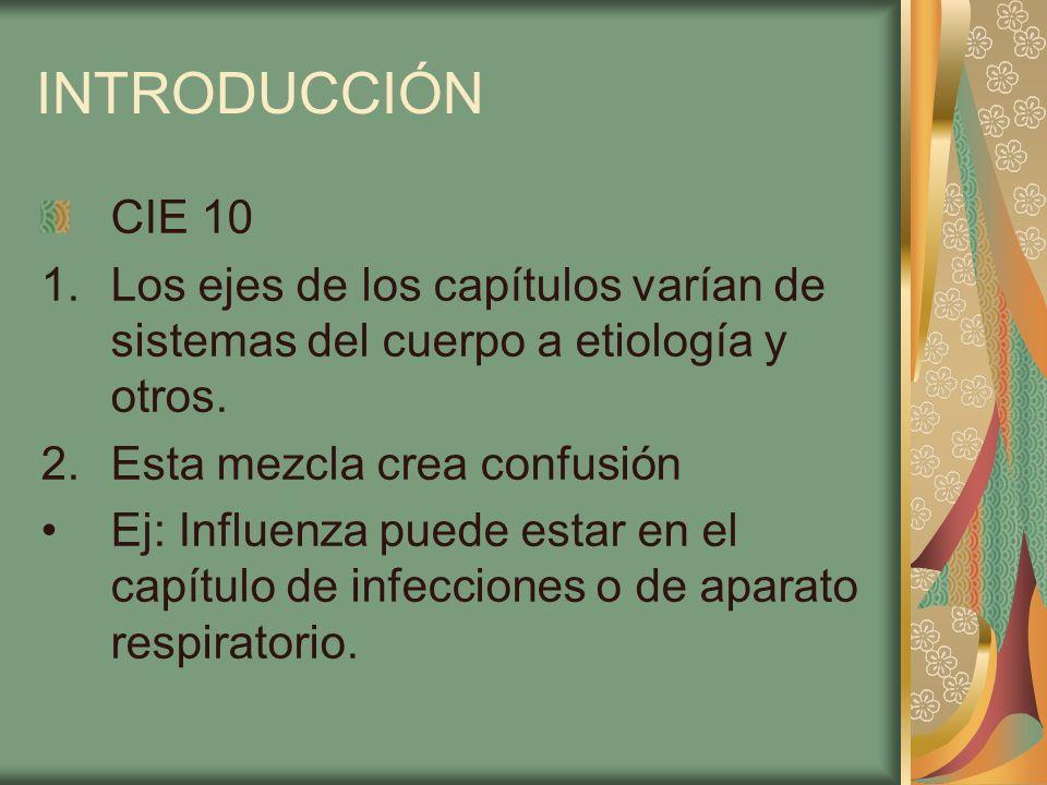 INTRODUCCIÓN CIE 10 1.Los ejes de los capítulos varían de sistemas del cuerpo a etiología y otros. 2.Esta mezcla crea confusión Ej: Influenza puede es