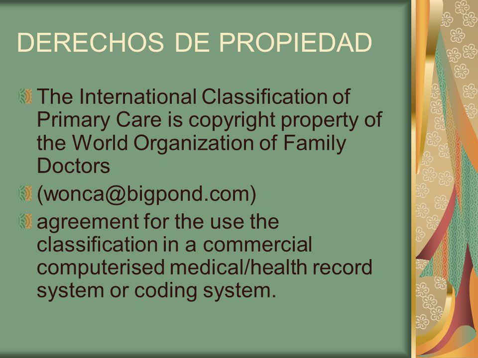 DERECHOS DE PROPIEDAD The International Classification of Primary Care is copyright property of the World Organization of Family Doctors (wonca@bigpon