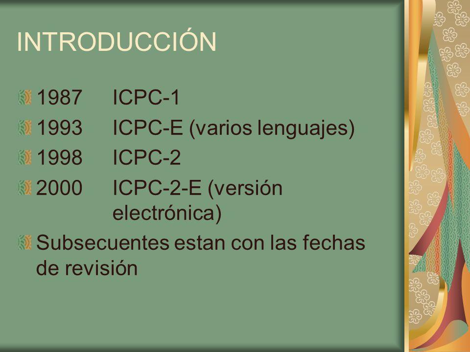 INTRODUCCIÓN 1987 ICPC-1 1993ICPC-E (varios lenguajes) 1998ICPC-2 2000ICPC-2-E (versión electrónica) Subsecuentes estan con las fechas de revisión
