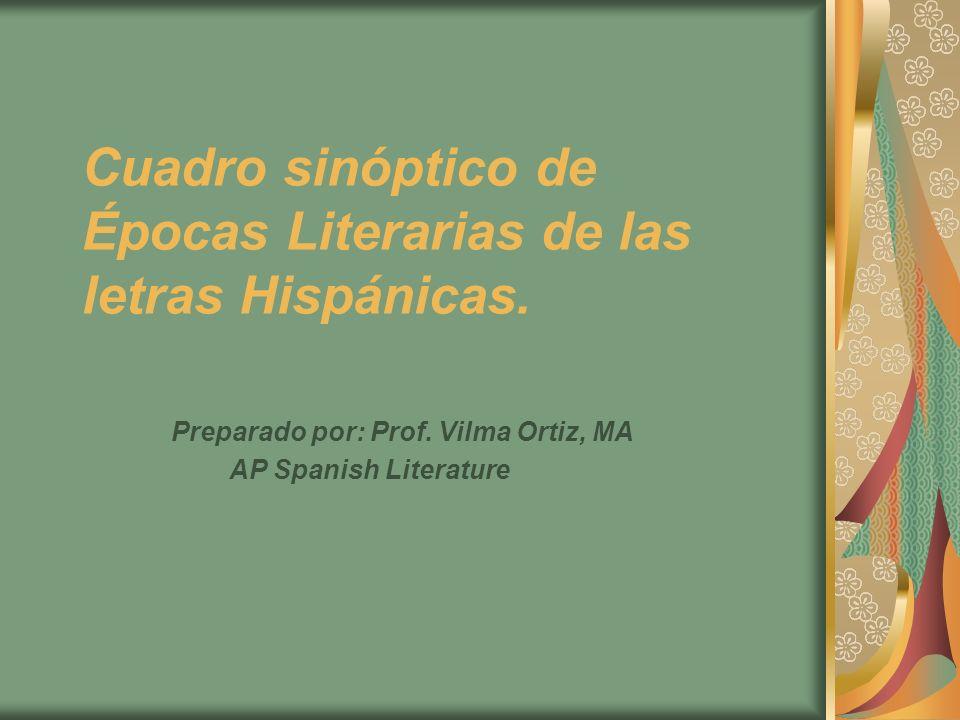 Cuadro sinóptico de Épocas Literarias de las letras Hispánicas. Preparado por: Prof. Vilma Ortiz, MA AP Spanish Literature Prof. Vilma Ortiz Cuadro si