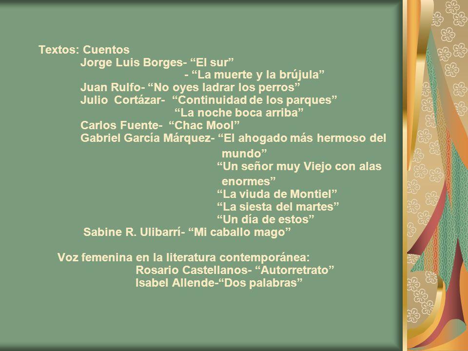 Textos: Cuentos Jorge Luis Borges- El sur - La muerte y la brújula Juan Rulfo- No oyes ladrar los perros Julio Cortázar- Continuidad de los parques La