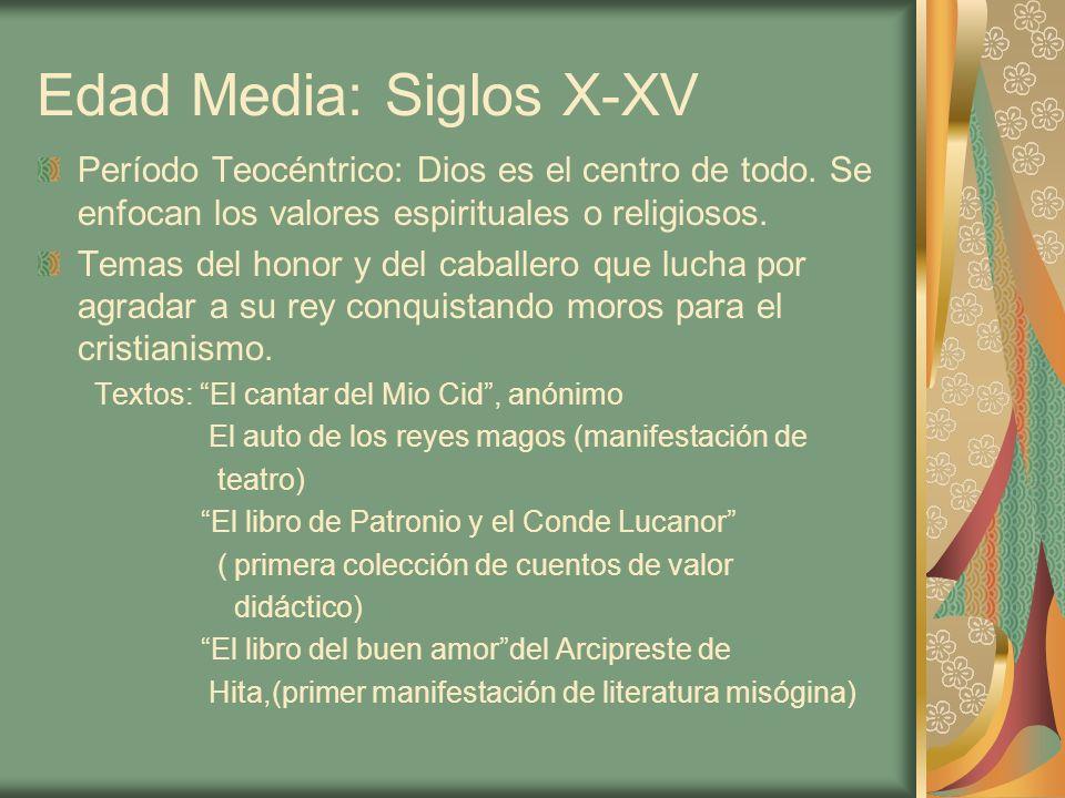 Edad Media: Siglos X-XV Período Teocéntrico: Dios es el centro de todo. Se enfocan los valores espirituales o religiosos. Temas del honor y del caball