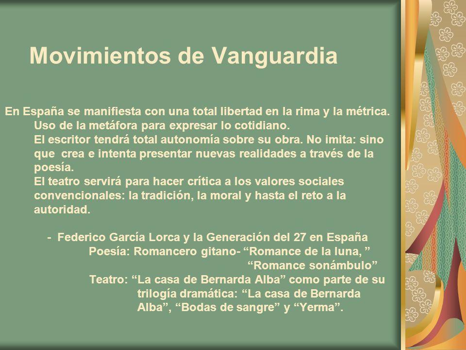 Movimientos de Vanguardia En España se manifiesta con una total libertad en la rima y la métrica. Uso de la metáfora para expresar lo cotidiano. El es
