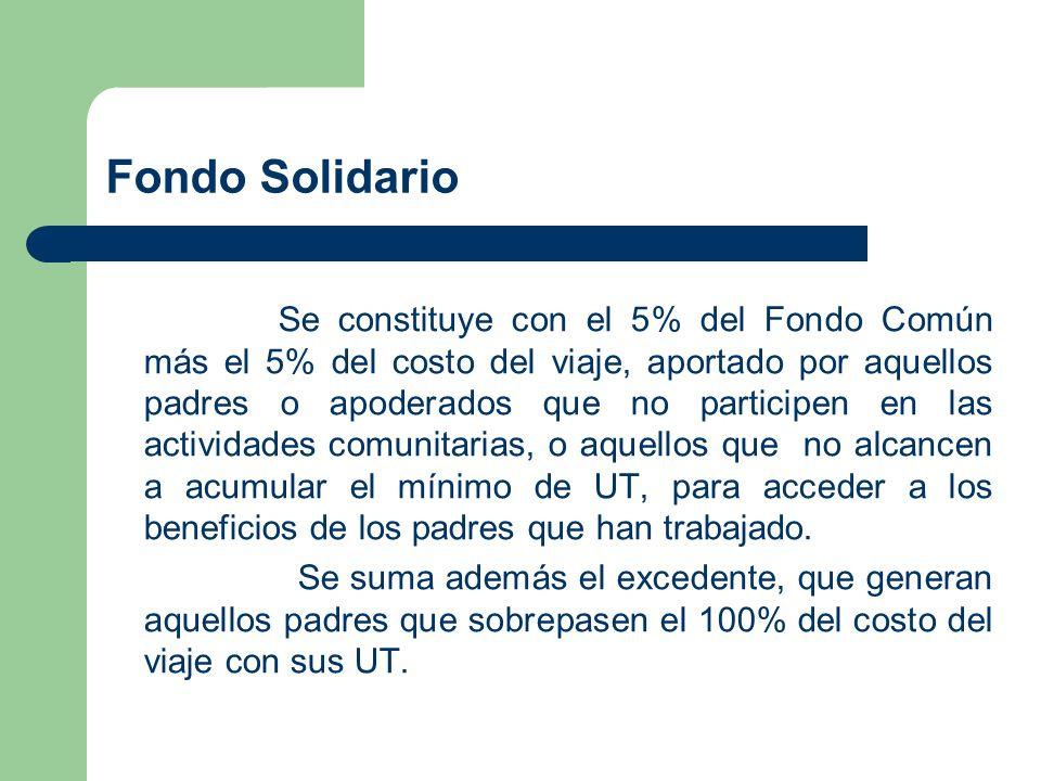 Fondo Solidario Se constituye con el 5% del Fondo Común más el 5% del costo del viaje, aportado por aquellos padres o apoderados que no participen en