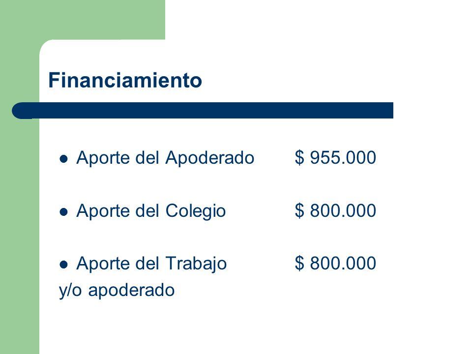Financiamiento Aporte del Apoderado$ 955.000 Aporte del Colegio$ 800.000 Aporte del Trabajo$ 800.000 y/o apoderado
