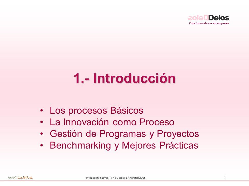 Otra forma de ver su empresa © fguell iniciatives - The Delos Partnership 2005 1 1.- Introducción Los procesos Básicos La Innovación como Proceso Gestión de Programas y Proyectos Benchmarking y Mejores Prácticas