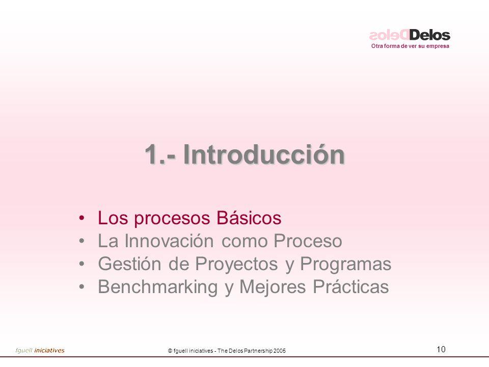 Otra forma de ver su empresa © fguell iniciatives - The Delos Partnership 2005 10 1.- Introducción Los procesos Básicos La Innovación como Proceso Gestión de Proyectos y Programas Benchmarking y Mejores Prácticas