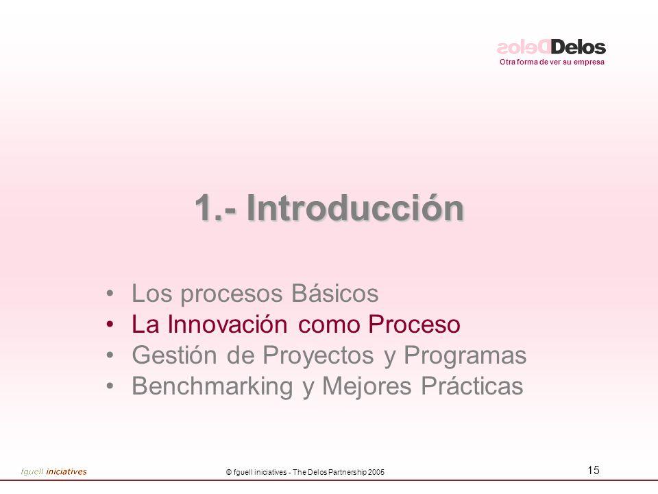 Otra forma de ver su empresa © fguell iniciatives - The Delos Partnership 2005 15 1.- Introducción Los procesos Básicos La Innovación como Proceso Gestión de Proyectos y Programas Benchmarking y Mejores Prácticas
