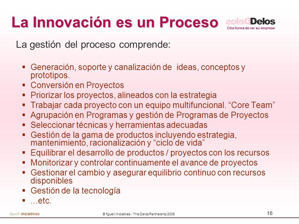 Otra forma de ver su empresa © fguell iniciatives - The Delos Partnership 2005 16 La Innovación es un Proceso La gestión del proceso comprende: Generación, soporte y canalización de ideas, conceptos y prototipos.