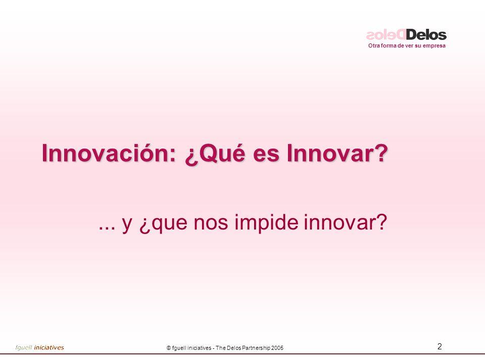 Otra forma de ver su empresa © fguell iniciatives - The Delos Partnership 2005 2 Innovación: ¿Qué es Innovar?... y ¿que nos impide innovar?