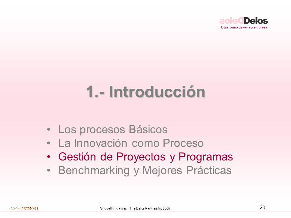 Otra forma de ver su empresa © fguell iniciatives - The Delos Partnership 2005 20 1.- Introducción Los procesos Básicos La Innovación como Proceso Gestión de Proyectos y Programas Benchmarking y Mejores Prácticas