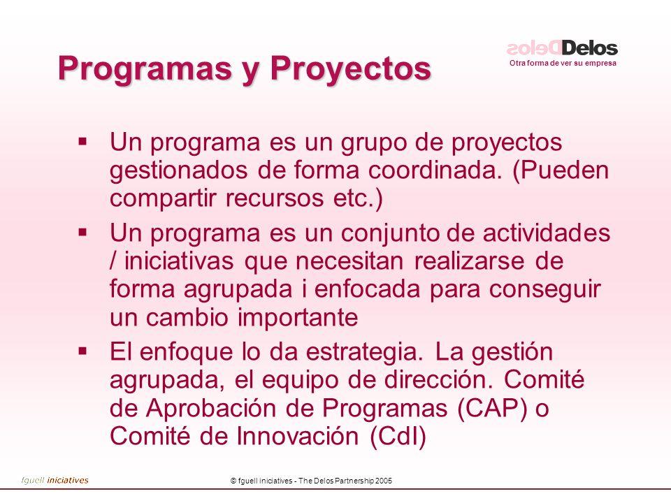 Otra forma de ver su empresa © fguell iniciatives - The Delos Partnership 2005 Programas y Proyectos Un programa es un grupo de proyectos gestionados