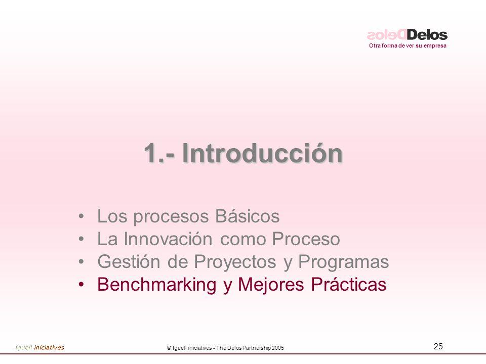 Otra forma de ver su empresa © fguell iniciatives - The Delos Partnership 2005 25 1.- Introducción Los procesos Básicos La Innovación como Proceso Gestión de Proyectos y Programas Benchmarking y Mejores Prácticas