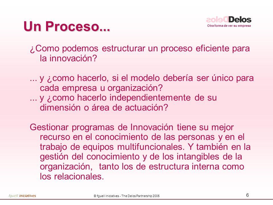 Otra forma de ver su empresa © fguell iniciatives - The Delos Partnership 2005 6 Un Proceso... ¿Como podemos estructurar un proceso eficiente para la