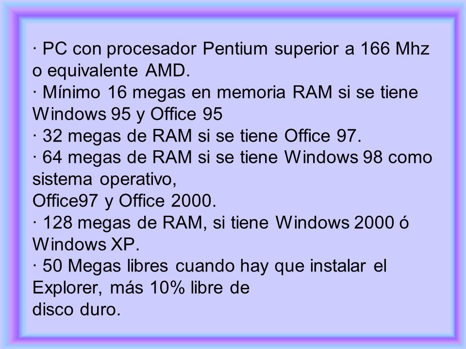 · PC con procesador Pentium superior a 166 Mhz o equivalente AMD. · Mínimo 16 megas en memoria RAM si se tiene Windows 95 y Office 95 · 32 megas de RA
