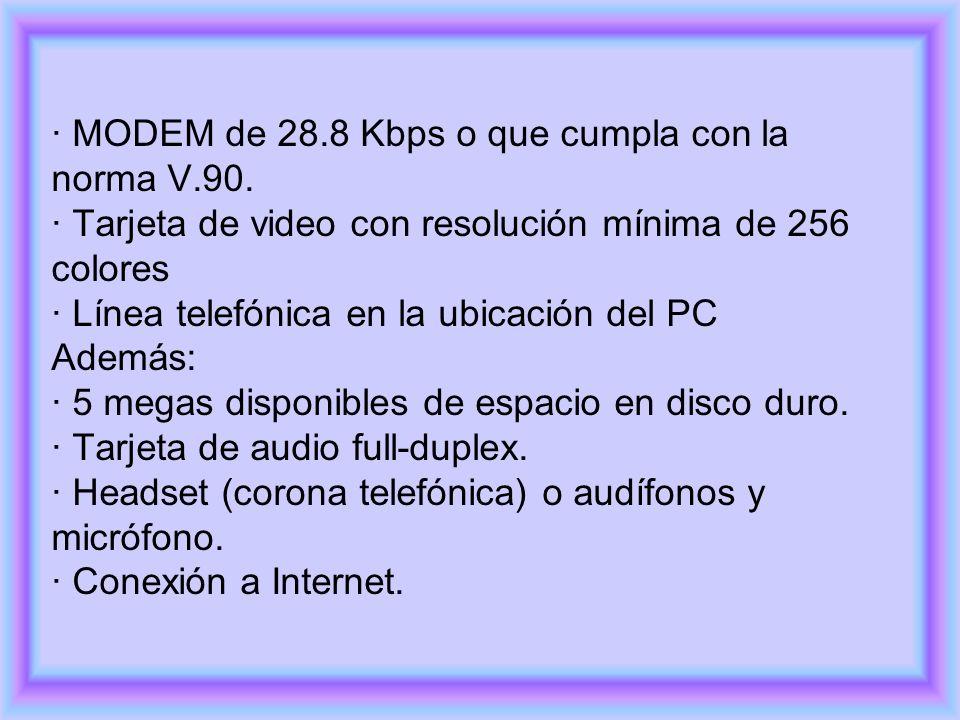 · MODEM de 28.8 Kbps o que cumpla con la norma V.90. · Tarjeta de video con resolución mínima de 256 colores · Línea telefónica en la ubicación del PC