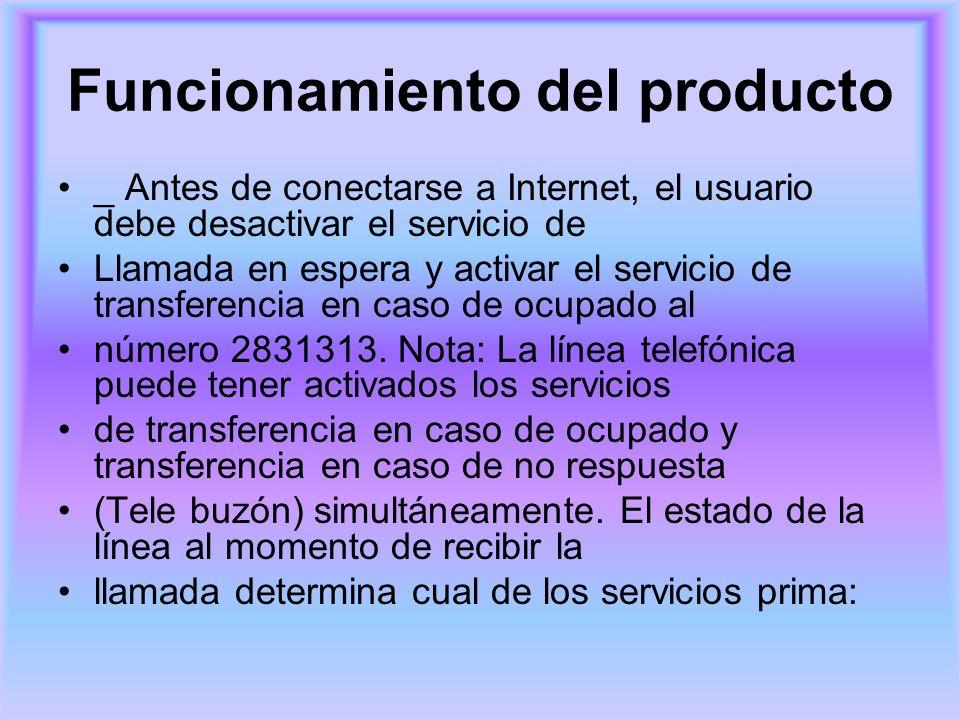 Funcionamiento del producto _ Antes de conectarse a Internet, el usuario debe desactivar el servicio de Llamada en espera y activar el servicio de tra