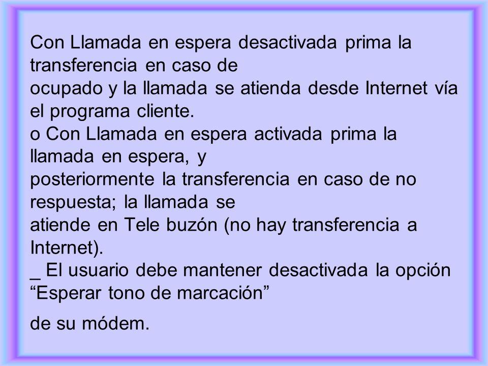Con Llamada en espera desactivada prima la transferencia en caso de ocupado y la llamada se atienda desde Internet vía el programa cliente. o Con Llam