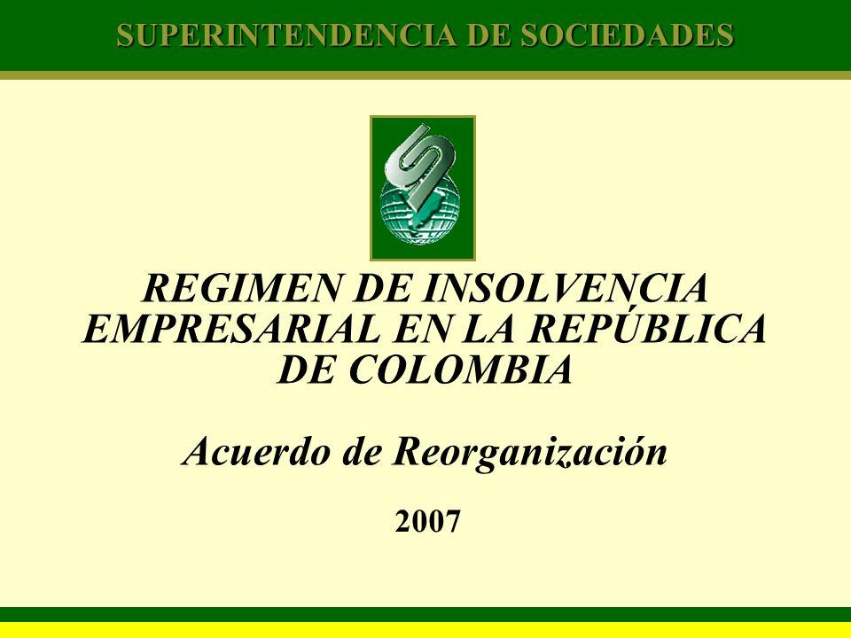 SUPERINTENDENCIA DE SOCIEDADES REGIMEN DE INSOLVENCIA EMPRESARIAL EN LA REPÚBLICA DE COLOMBIA Acuerdo de Reorganización 2007