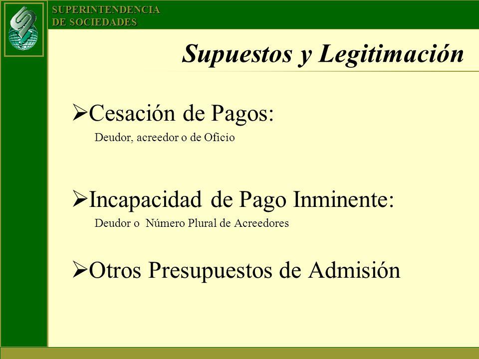 SUPERINTENDENCIA DE SOCIEDADES Supuestos y Legitimación Cesación de Pagos: Deudor, acreedor o de Oficio Incapacidad de Pago Inminente: Deudor o Número