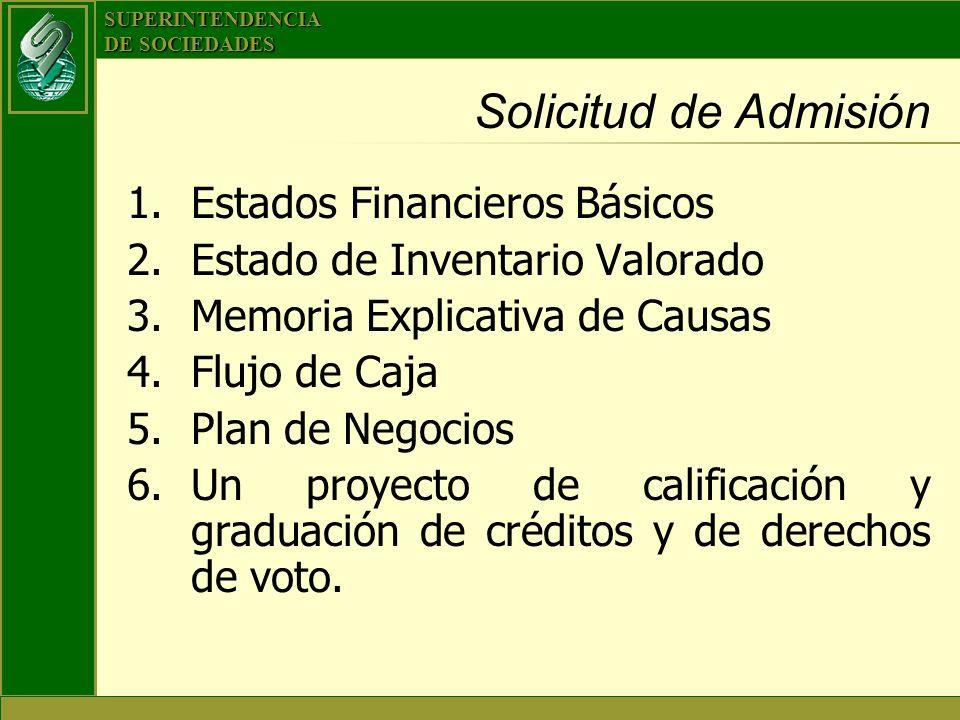 SUPERINTENDENCIA DE SOCIEDADES Solicitud de Admisión 1.Estados Financieros Básicos 2.Estado de Inventario Valorado 3.Memoria Explicativa de Causas 4.F