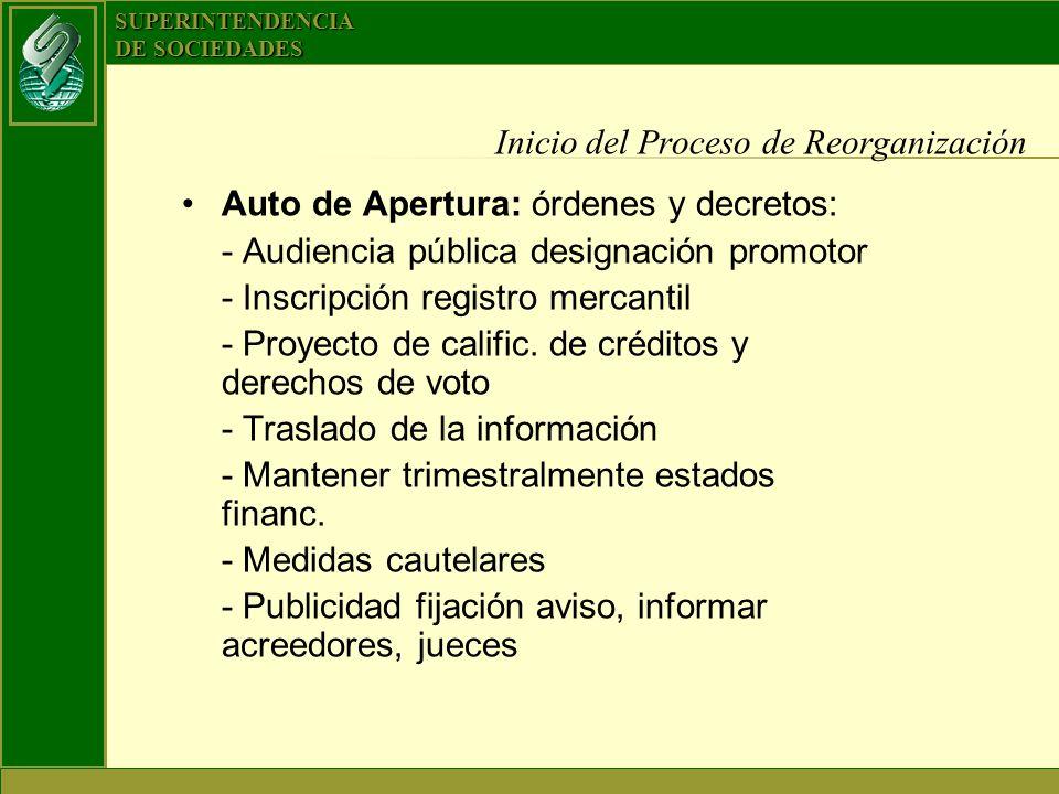 SUPERINTENDENCIA DE SOCIEDADES Inicio del Proceso de Reorganización Auto de Apertura: órdenes y decretos: - Audiencia pública designación promotor - I