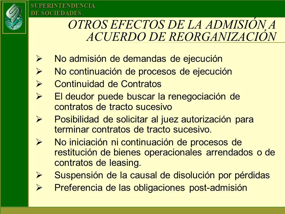 SUPERINTENDENCIA DE SOCIEDADES OTROS EFECTOS DE LA ADMISIÓN A ACUERDO DE REORGANIZACIÓN No admisión de demandas de ejecución No continuación de proces