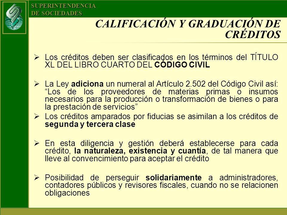 SUPERINTENDENCIA DE SOCIEDADES CALIFICACIÓN Y GRADUACIÓN DE CRÉDITOS Los créditos deben ser clasificados en los términos del TÍTULO XL DEL LIBRO CUART
