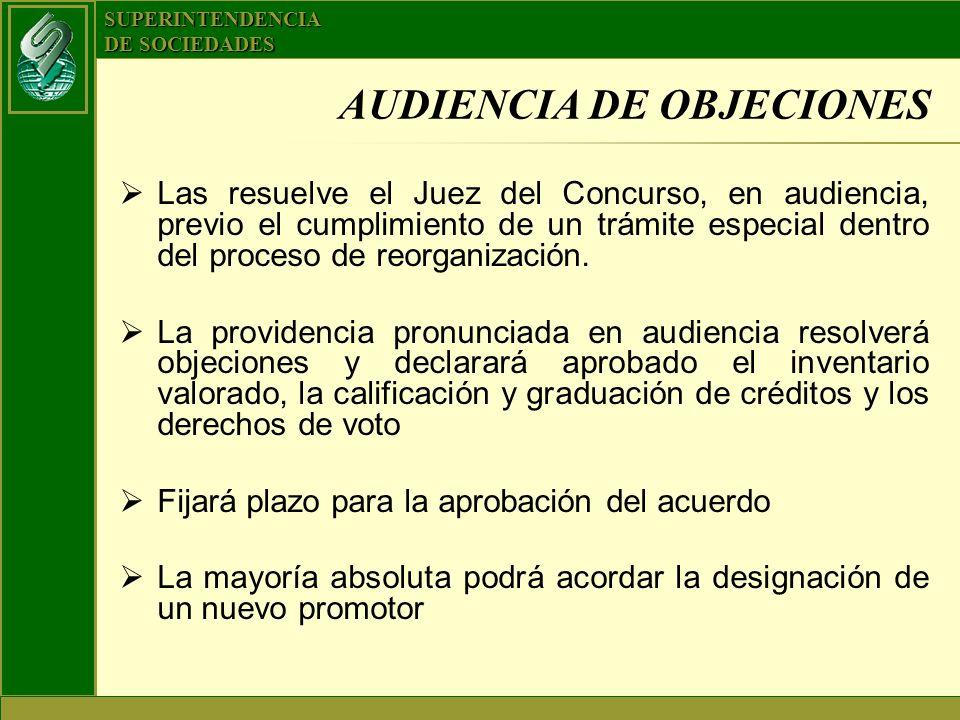 SUPERINTENDENCIA DE SOCIEDADES AUDIENCIA DE OBJECIONES Las resuelve el Juez del Concurso, en audiencia, previo el cumplimiento de un trámite especial