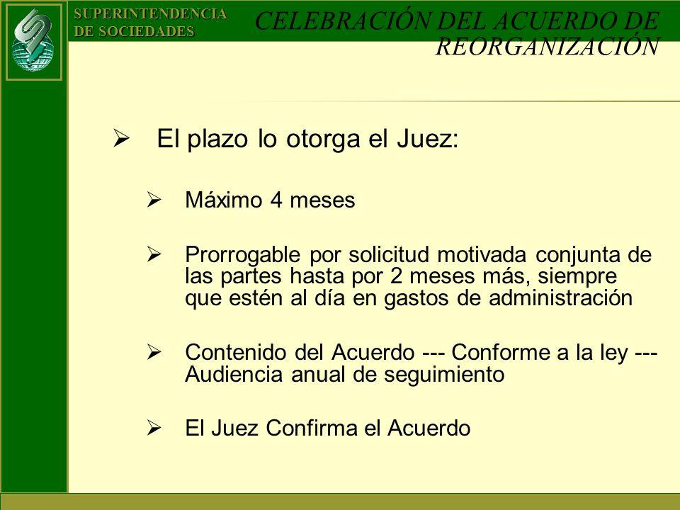 SUPERINTENDENCIA DE SOCIEDADES CELEBRACIÓN DEL ACUERDO DE REORGANIZACIÓN El plazo lo otorga el Juez: Máximo 4 meses Prorrogable por solicitud motivada