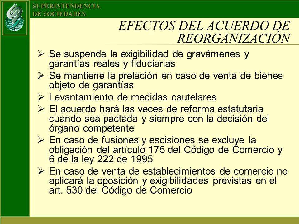 SUPERINTENDENCIA DE SOCIEDADES EFECTOS DEL ACUERDO DE REORGANIZACIÓN Se suspende la exigibilidad de gravámenes y garantías reales y fiduciarias Se man