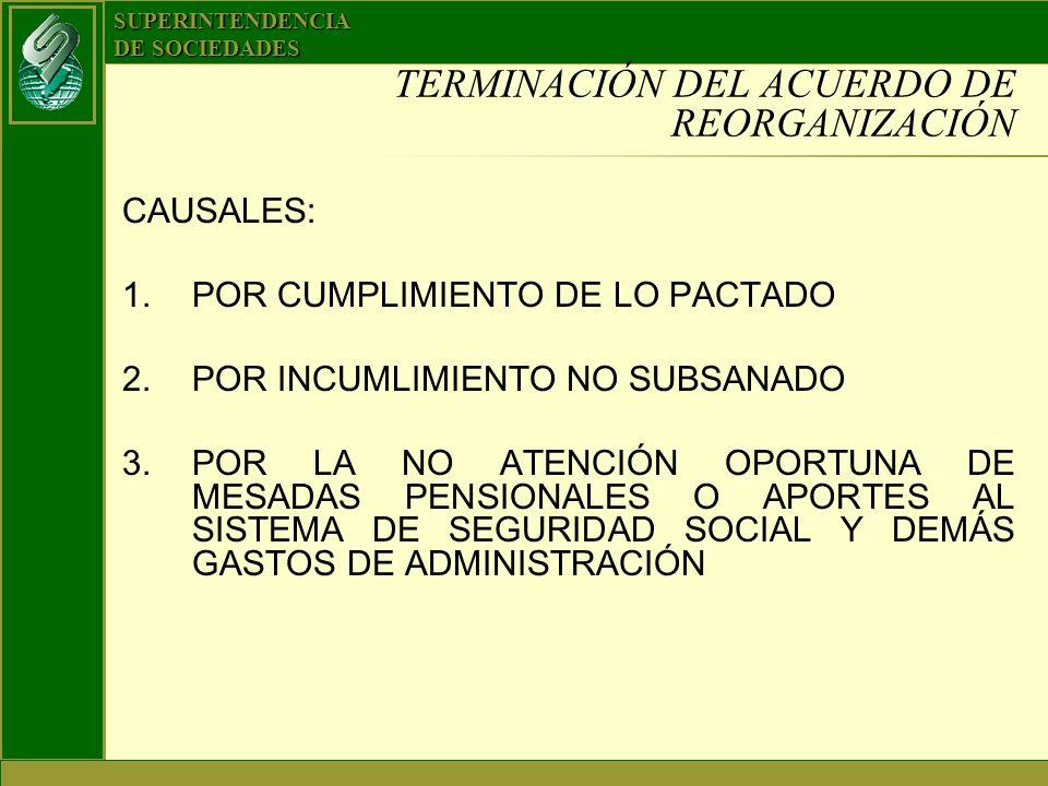 SUPERINTENDENCIA DE SOCIEDADES TERMINACIÓN DEL ACUERDO DE REORGANIZACIÓN CAUSALES: 1.POR CUMPLIMIENTO DE LO PACTADO 2.POR INCUMLIMIENTO NO SUBSANADO 3