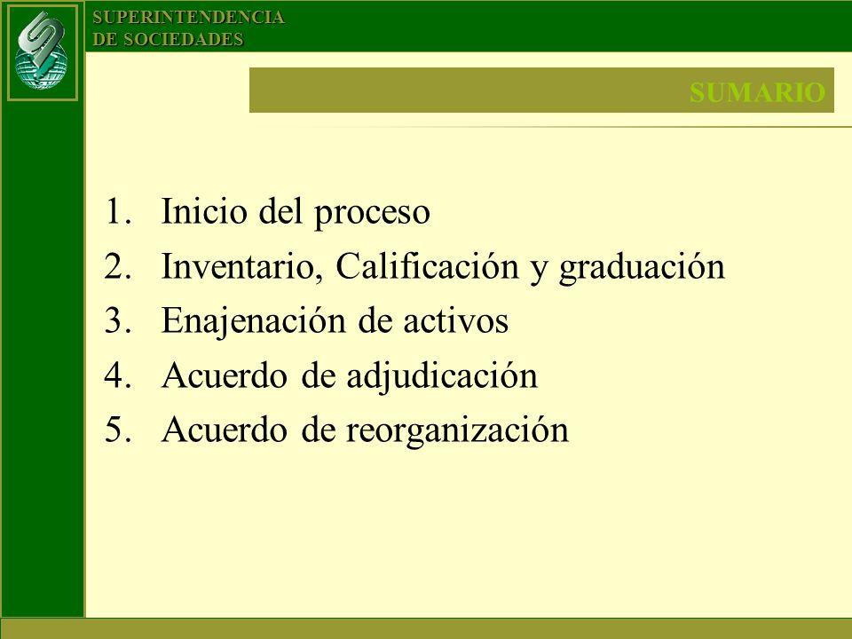 SUPERINTENDENCIA DE SOCIEDADES SUMARIO 1.Inicio del proceso 2.Inventario, Calificación y graduación 3.Enajenación de activos 4.Acuerdo de adjudicación