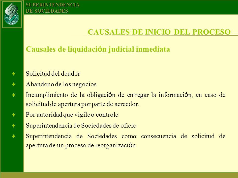 SUPERINTENDENCIA DE SOCIEDADES Causales de liquidaci ó n judicial inmediata Solicitud del deudor Abandono de los negocios Incumplimiento de la obligac