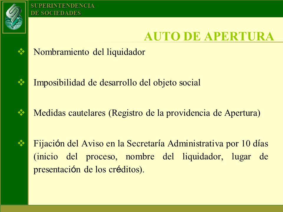 SUPERINTENDENCIA DE SOCIEDADES Nombramiento del liquidador Imposibilidad de desarrollo del objeto social Medidas cautelares (Registro de la providenci
