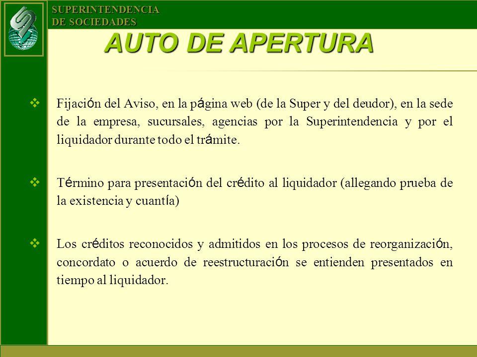 SUPERINTENDENCIA DE SOCIEDADES Fijaci ó n del Aviso, en la p á gina web (de la Super y del deudor), en la sede de la empresa, sucursales, agencias por